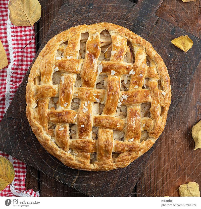 gebackene ganze runde Apfelkuchen Frucht Dessert Tisch Küche Herbst Holz frisch lecker oben braun Tradition Amerikaner Bäckerei Kuchen Weihnachten