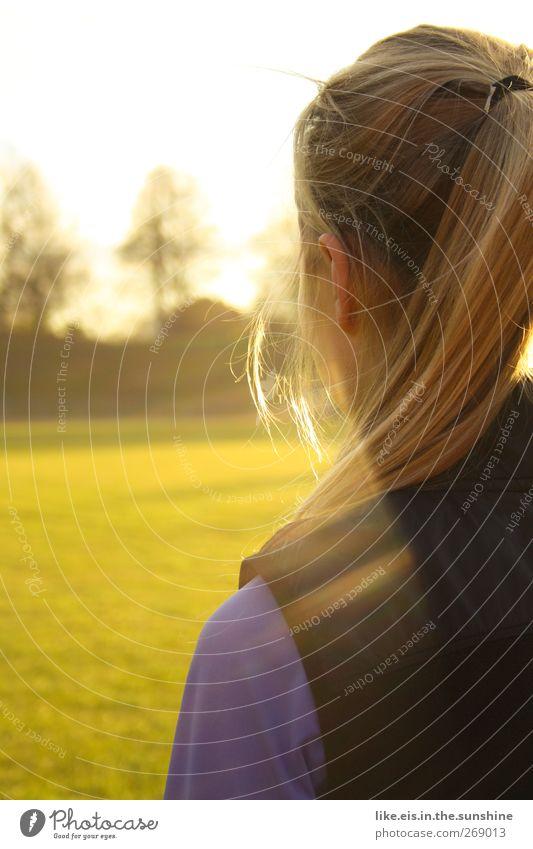 Hello Darling, Mensch Frau Jugendliche Erwachsene feminin Frühling Haare & Frisuren blond 18-30 Jahre Schönes Wetter einzeln langhaarig Zopf Bildausschnitt