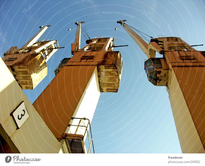 drei alt Himmel Sonne 3 hoch Technik & Technologie Gewicht Geländer Kran Elektrisches Gerät