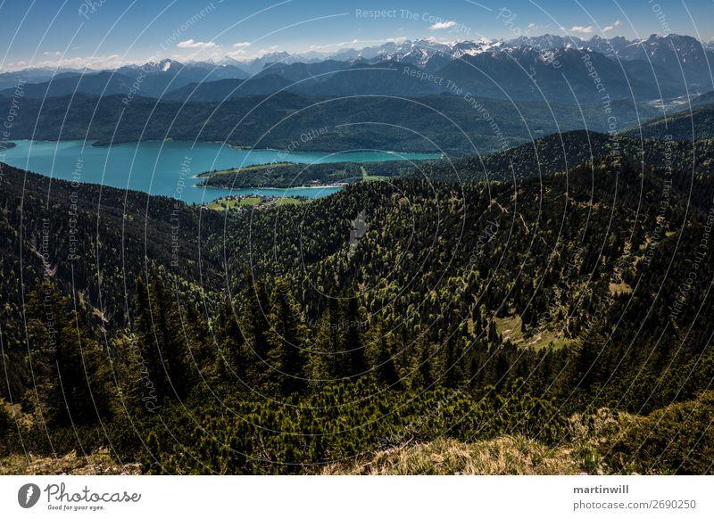 Panorama Walchensee vor Karwendel Ferien & Urlaub & Reisen Ausflug Sommer Berge u. Gebirge wandern Natur Landschaft Alpen Gipfel See Karwendelgebirge Oberbayern