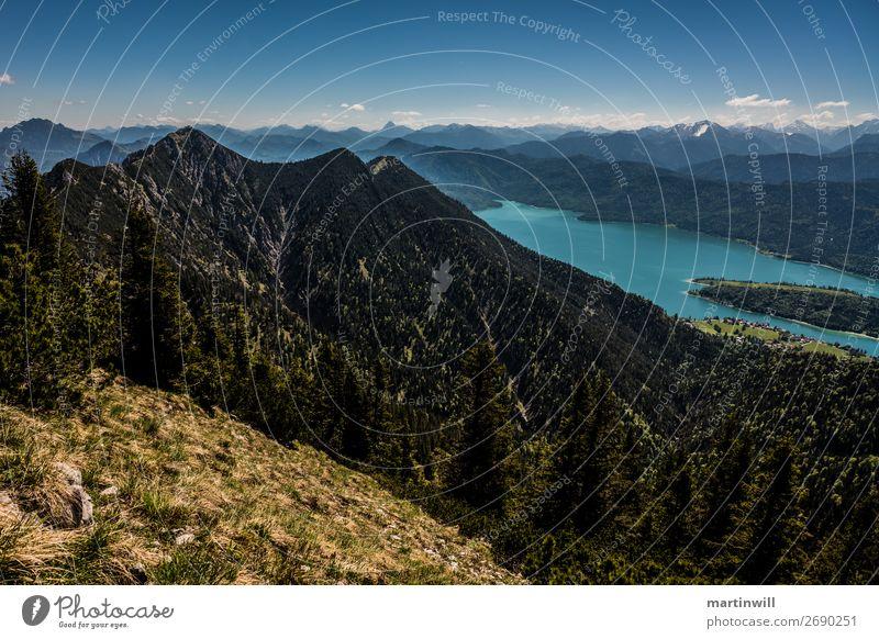 Aussicht auf Herzogstand über dem Walchensee Ferien & Urlaub & Reisen Ausflug Berge u. Gebirge wandern Natur Landschaft Schönes Wetter Alpen Gipfel See