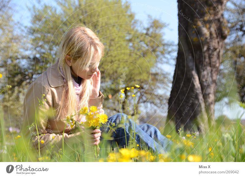 Blumenstrauß Mensch feminin Junge Frau Jugendliche Erwachsene 1 18-30 Jahre Natur Pflanze Frühling Sommer Schönes Wetter Baum Gras Blüte Garten Park Wiese