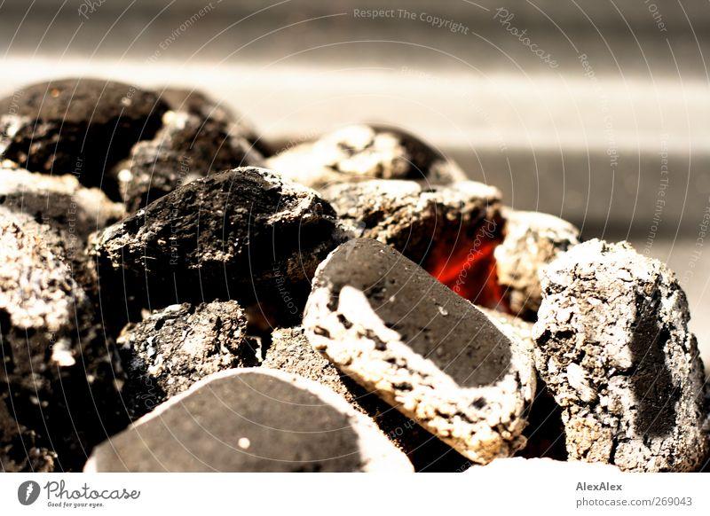 10 min vorm Grillfest Ernährung Grillkohle heiß hell grau rot schwarz weiß Appetit & Hunger Freizeit & Hobby genießen Farbfoto Gedeckte Farben Außenaufnahme