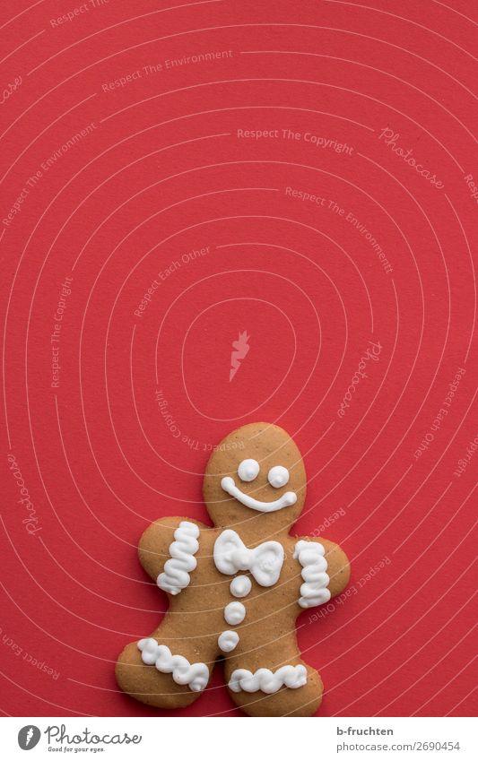 wer fürchtet sich vom Lebkuchenmann Lebensmittel Teigwaren Backwaren Süßwaren Weihnachten & Advent Blick warten frisch rot Freude Figur männchen stehen Keks