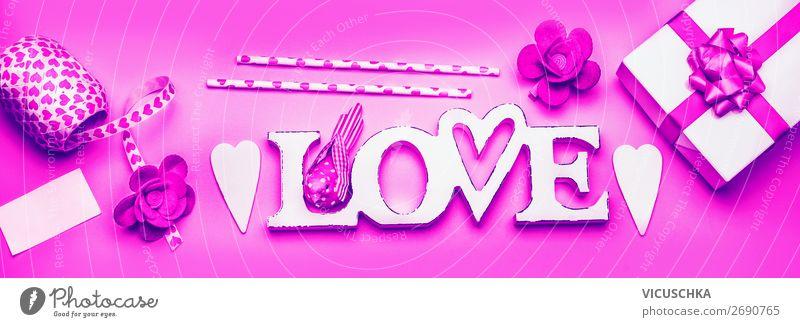 Valentinstag Composing mit Liebe kaufen Design Freude Dekoration & Verzierung Blumenstrauß Schleife Zeichen Herz Fahne trendy rosa Gefühle box hearts