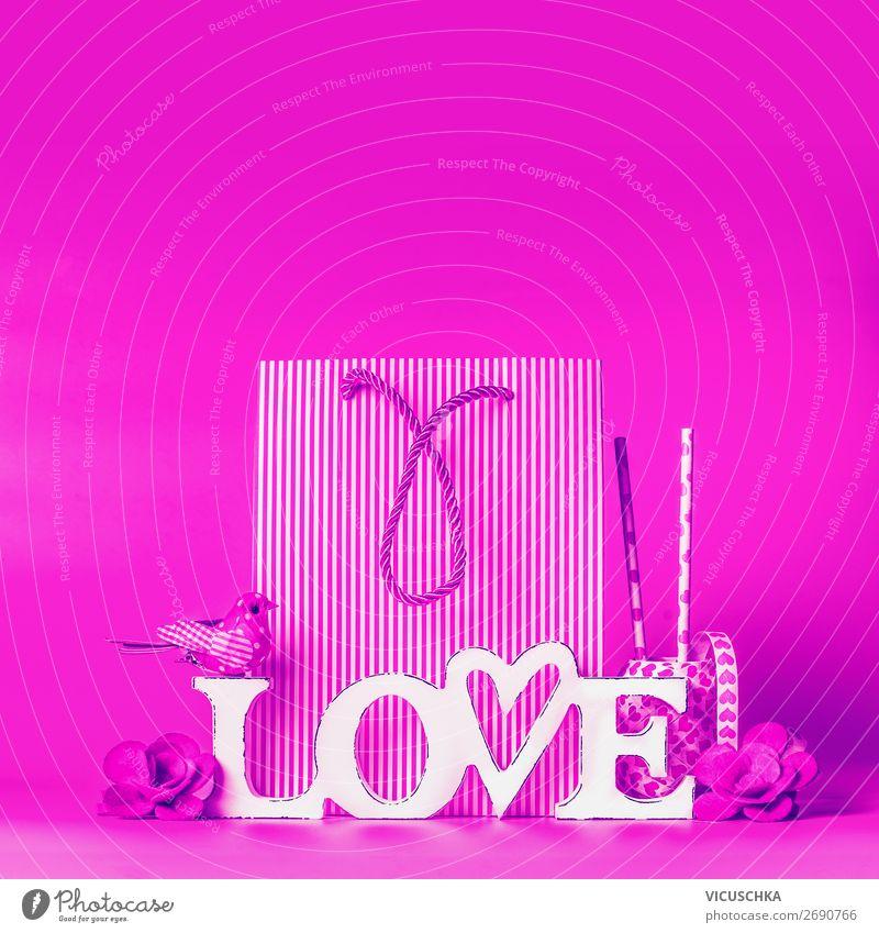 Wort Love mit Dekoration kaufen Stil Design Party Veranstaltung Feste & Feiern Valentinstag Dekoration & Verzierung Schleife Herz Liebe rosa Hintergrundbild