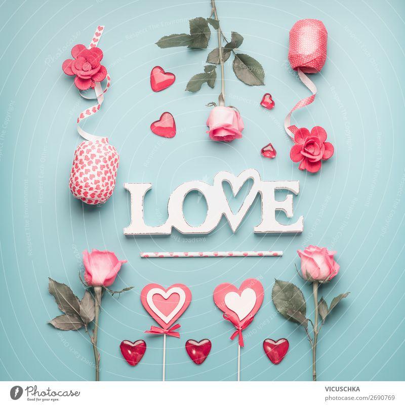 Romantische Composing mit Wort LOve Stil Design Dekoration & Verzierung Party Veranstaltung Feste & Feiern Valentinstag Hochzeit feminin Pflanze Blume Rose