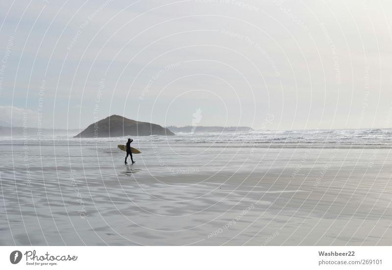 Surfers Paradies II Mensch Natur Wasser Ferien & Urlaub & Reisen Meer Strand Freude ruhig Erholung Umwelt Sport Freiheit grau Glück Sand Stil