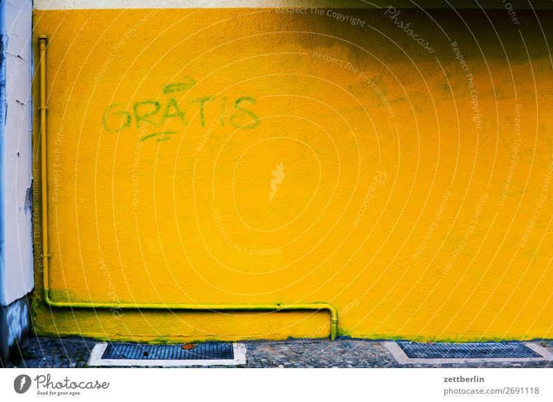 GRATIS Berlin Gebäude Haus Menschenleer Schöneberg Stadt Szene Textfreiraum Stadtleben Wand Farbe knallig gelb kostenlos Schriftzeichen Typographie