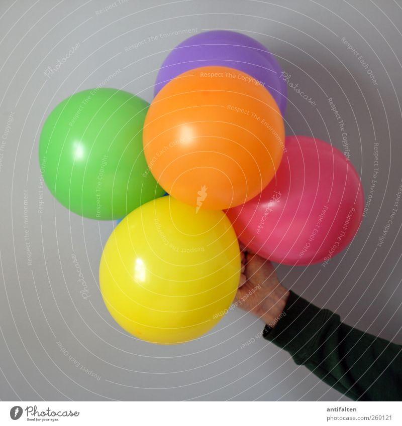 Happy Birthday Mensch maskulin Körper Arme Hand Finger 1 Spielzeug Dekoration & Verzierung Luftballon festhalten Fröhlichkeit schön mehrfarbig gelb grün violett
