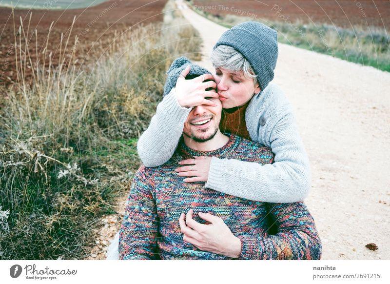 Frau Mensch Ferien & Urlaub & Reisen Natur Mann schön Freude Winter Lifestyle Erwachsene Leben Herbst Liebe lustig Wege & Pfade feminin