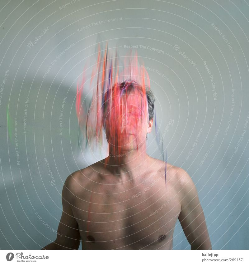 thinking maskulin Mann Erwachsene Körper Haut 1 Mensch 30-45 Jahre Bewegung mehrfarbig Kreativität Schnur Gedanke Vernetzung Informationstechnologie