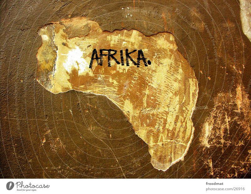 Afrika Freude Silhouette Wand braun Kunst dreckig lustig Coolness Tourismus Vergänglichkeit obskur Verfall Loch Wachsamkeit Landkarte