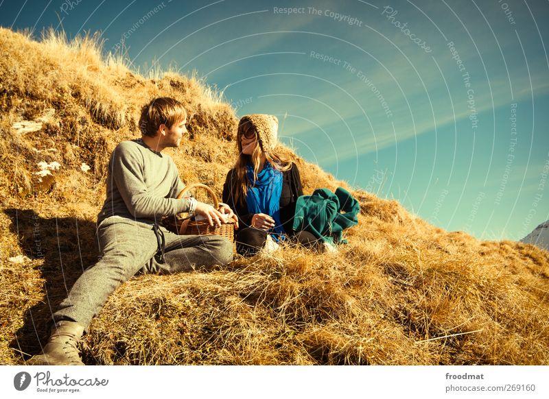 golden romance Mensch Frau Natur Mann Sonne Freude Erholung Erwachsene Liebe feminin Gefühle Glück Paar Freundschaft Zusammensein gold