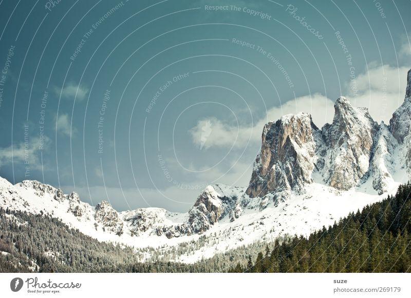 Geislergruppe Himmel Natur Ferien & Urlaub & Reisen Wolken Wald Umwelt Landschaft Schnee Berge u. Gebirge Frühling Klima authentisch Urelemente Alpen Idylle Schönes Wetter
