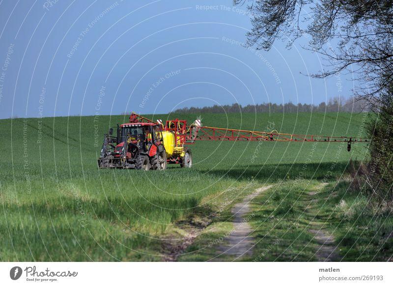 immer in der Kurve Landschaft Wolkenloser Himmel Sonne Frühling Schönes Wetter Gras Feld Berufsverkehr Traktor fahren blau grün rot Düngung Wegrand Ausleger