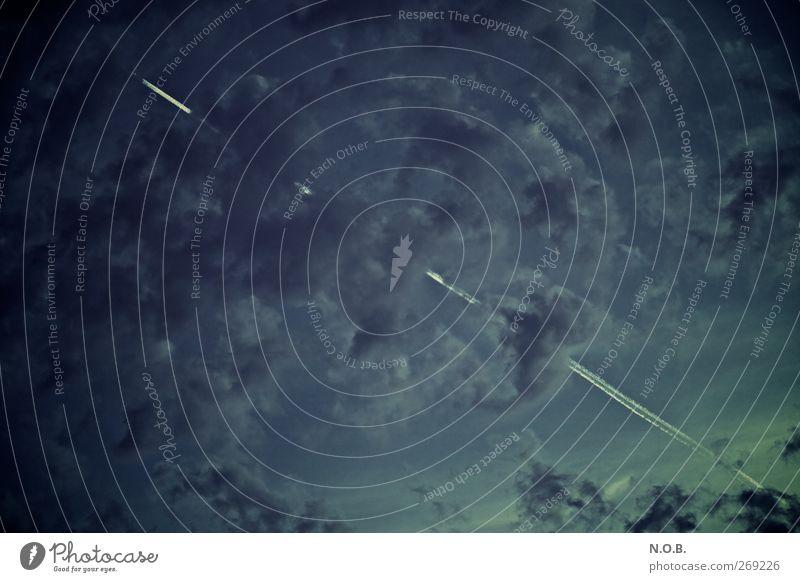 Flugreise, wohin geht es? Himmel Ferien & Urlaub & Reisen blau Wolken Ferne Gefühle fliegen Wetter Verkehr Luftverkehr hoch ästhetisch Zukunft Urelemente