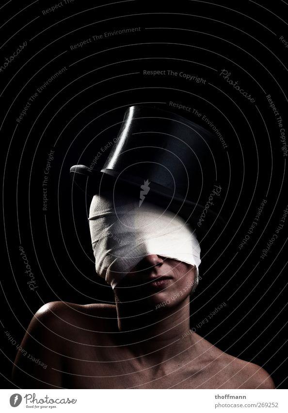 It's magic! Gesicht verrückt Hut verstecken Neigung Zauberei u. Magie Verbundenheit blind verdeckt verpackt Verband vermummen Kopfbedeckung vermummt Zylinder