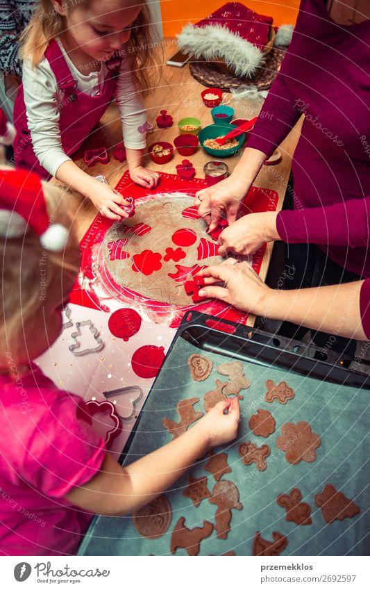 Frau Kind Mensch Weihnachten & Advent Mädchen Lebensmittel Lifestyle Erwachsene Familie & Verwandtschaft Feste & Feiern Junge oben Kindheit Tisch Fröhlichkeit