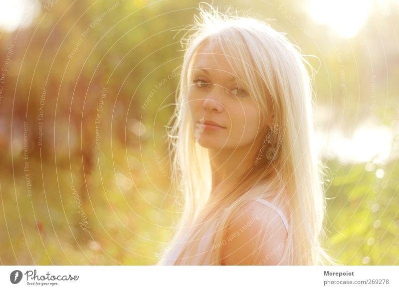 Sonnenuntergang feminin Junge Frau Jugendliche Erwachsene Kopf Haare & Frisuren Gesicht 1 Mensch 18-30 Jahre blond langhaarig Blick stehen leuchten ästhetisch
