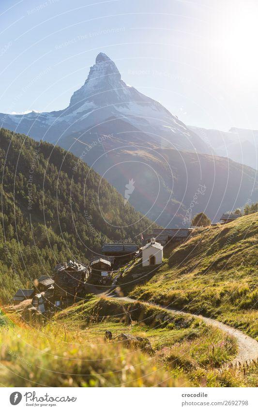 #779 Schweiz Matterhorn Wahrzeichen Berge u. Gebirge Dorf wandern Mountainbike Trail Wege & Pfade Sonnenuntergang weiches Licht Gipfel Schneebedeckte Gipfel