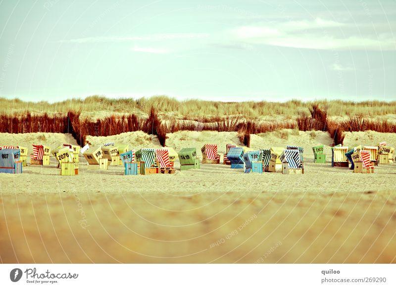 Strandminiaturen Erholung ruhig Ferien & Urlaub & Reisen Tourismus Sommer Sommerurlaub Sonne Sonnenbad Meer Insel Sand Luft Himmel Wolken Küste Nordsee Langeoog