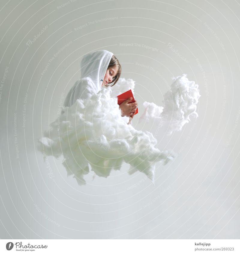 3900_gutenachtgeschichten Mensch Kind Weihnachten & Advent rot Himmel (Jenseits) Mädchen Wolken Leben Kopf Kindheit Freizeit & Hobby sitzen Buch lernen lesen Engel
