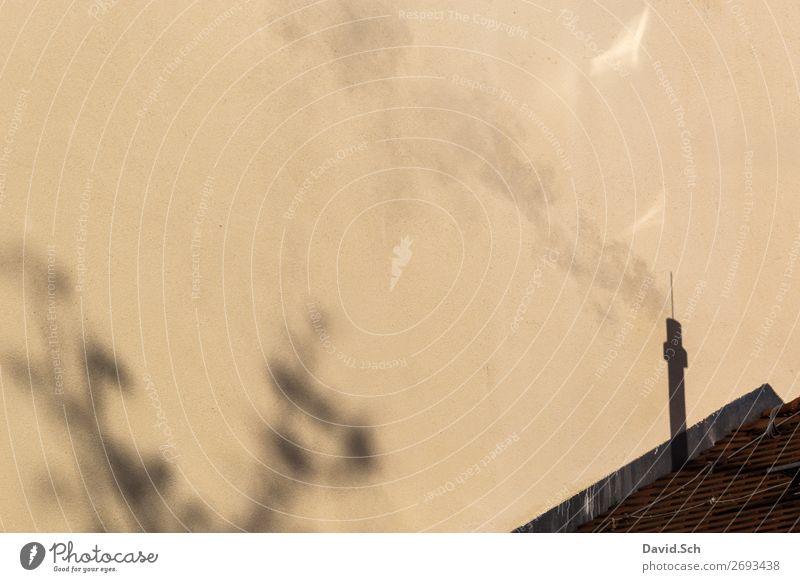 Schatten von rauchenden Schornstein Umwelt Klima Klimawandel Rauchen dreckig Umweltverschmutzung Umweltschutz Hausdach Luft Luftverschmutzung Abgas Emission