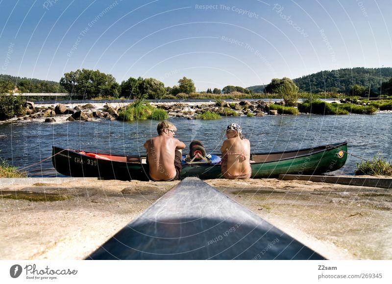 kurze paddelpause Ferien & Urlaub & Reisen Sommer Sommerurlaub Paar 2 Mensch Natur Landschaft Wasser See Fluss Erholung genießen ruhig Partnerschaft