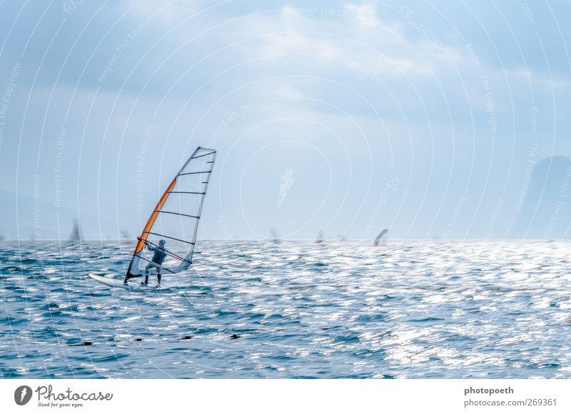 Windsurfer in Torbole, Gardasee 04 Wellen Berge u. Gebirge Sport Wassersport Sportler Natur Horizont Alpen Seeufer Bewegung sportlich Geschwindigkeit blau braun