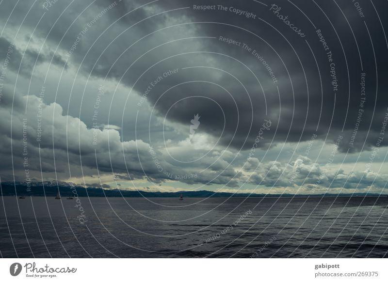 donnerwetter Umwelt Natur Himmel Frühling Klima schlechtes Wetter Unwetter Sturm Regen Küste See Bodensee außergewöhnlich bedrohlich natürlich blau schwarz