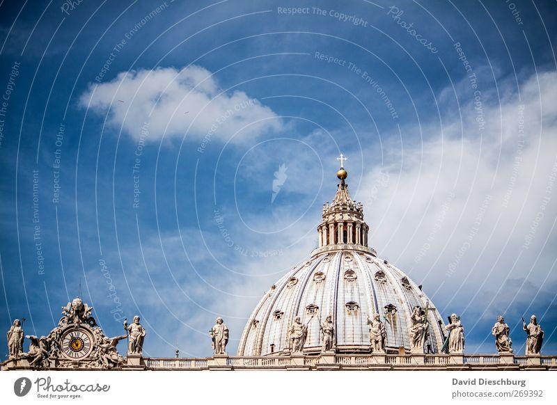 Rom/Petersdom II Himmel blau alt Ferien & Urlaub & Reisen weiß Wolken Religion & Glaube Kirche Dekoration & Verzierung Dach Italien historisch Kreuz Denkmal Statue Wahrzeichen