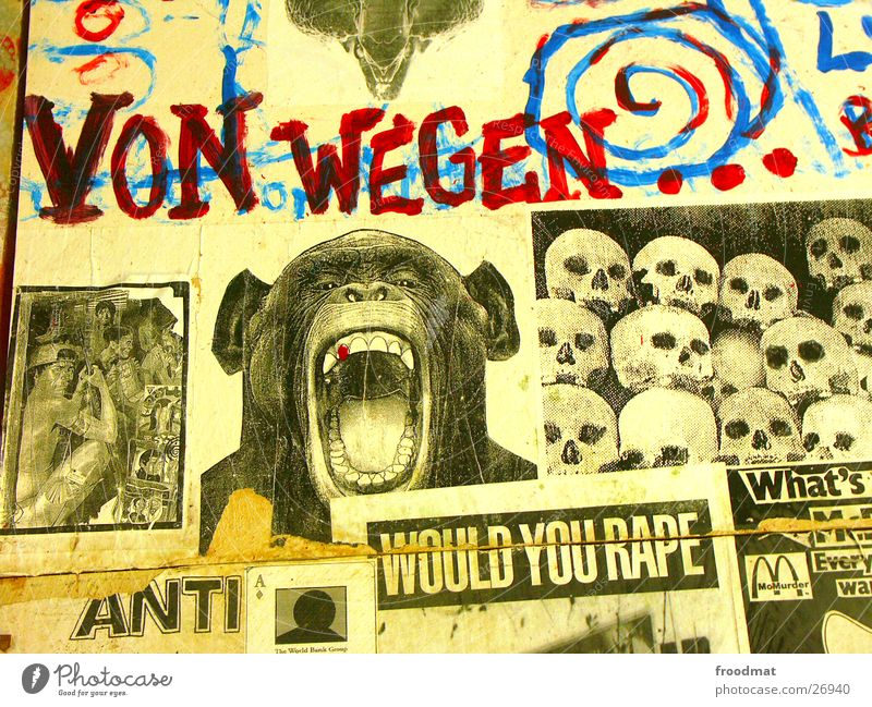 Terror-Bush #1 Affen gegen protestieren Kunst Collage Zeitung Schnipsel Ausstellung Bush Trash Tacheles