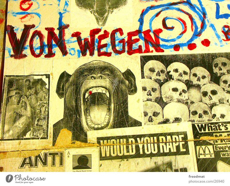 Terror-Bush #1 Kunst Zeitung gegen Affen Ausstellung protestieren Terror Collage Schnipsel