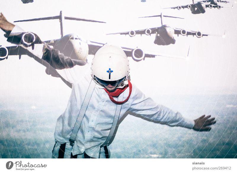 überflieger Mensch Jugendliche Ferien & Urlaub & Reisen Ferne Junger Mann träumen Tanzen Wind fliegen maskulin Flugzeug Luftverkehr Beruf Tragfläche Verstand Phantasie