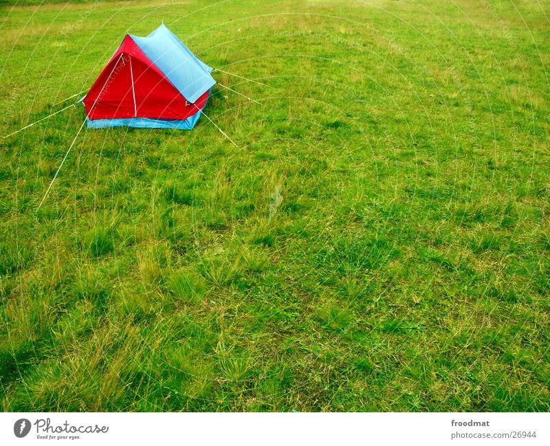 Eckenzelt blau grün rot Sommer Haus Wiese Gras Stil Seil Elektrizität Ecke Dach Insekt Burg oder Schloss Camping blasen