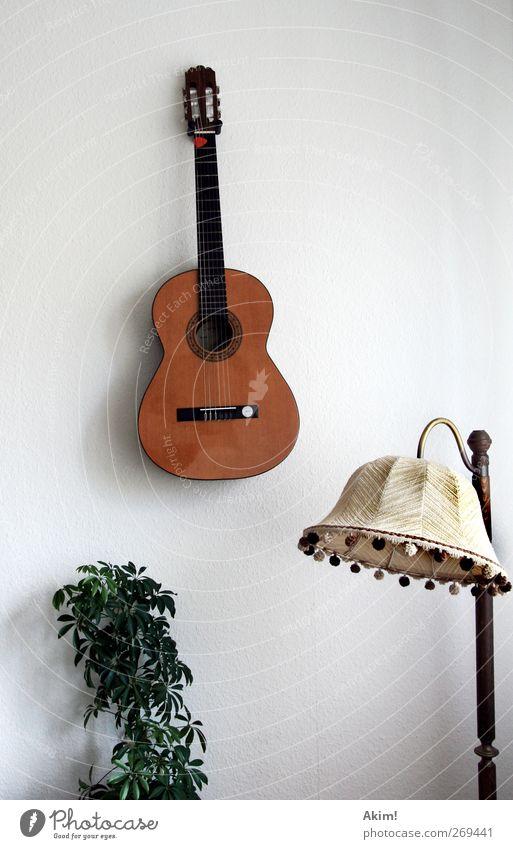 Stilles Klangleben Musik Musik hören Musiker Gitarre ästhetisch Musikinstrument Lampenschirm Siebziger Jahre Stillleben Zimmerpflanze Freizeit & Hobby ruhig