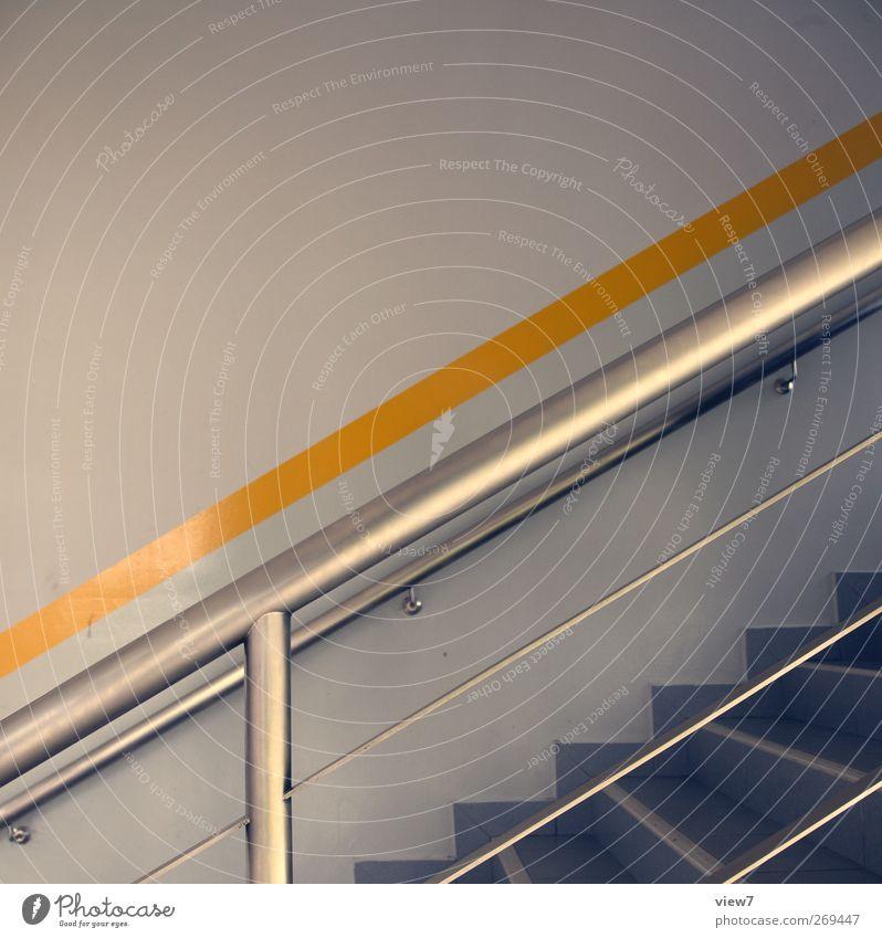 Treppenhaus Haus Bauwerk Gebäude Architektur Mauer Wand Fassade Stein Metall Linie Streifen ästhetisch authentisch einfach frisch modern neu gelb Geländer