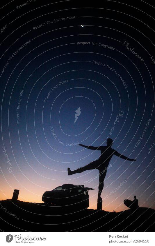 #AS# NachtMann Kunst ästhetisch Silhouette Surfen Surfer Surfbrett Surfschule Lebensfreude Gleichgewicht Ferien & Urlaub & Reisen Urlaubsfoto Urlaubsstimmung
