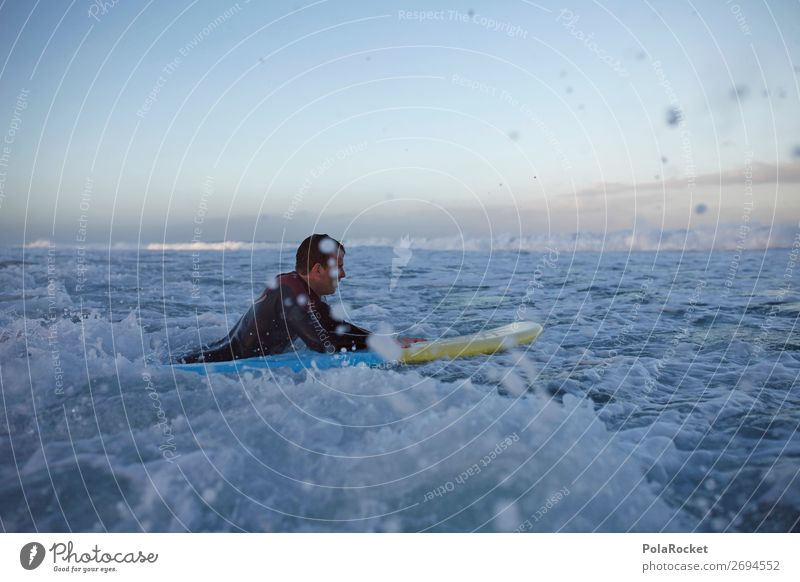 #AS# Morgenstund Mensch Mann Wasser Meer maskulin ästhetisch Wasseroberfläche Surfen Wassersport Surfer Surfbrett Surfschule