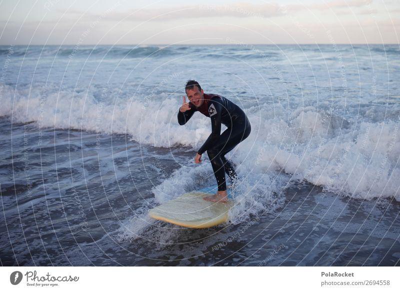 #AS# anbeachen Lifestyle Schwimmen & Baden Surfer Surfbrett Coolness hangloose Hand gestikulieren lässig Strand Wellen Junger Mann Freiheit Glück Gleichgewicht