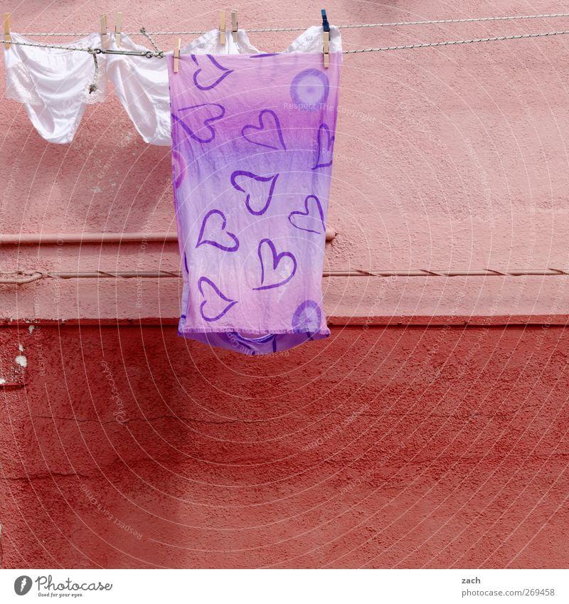 Burano blau Haus Liebe Fassade Herz Häusliches Leben Stoff Kleid Sauberkeit Italien Dorf Wäsche waschen Unterwäsche Venedig Wäscheleine