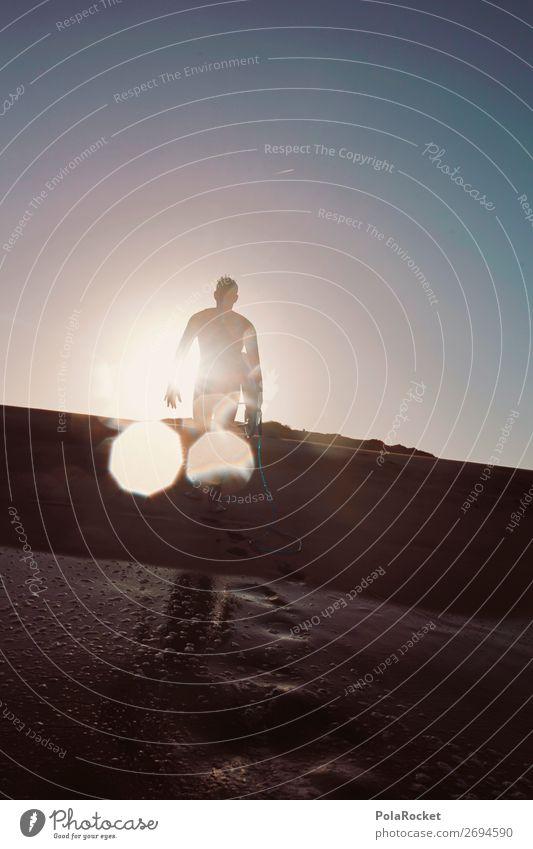 #AS# going home 1 Mensch ästhetisch Surfen Surfer Surfbrett Surfschule laufen Sonne Sonnenstrahlen Aktivurlaub sportlich Wassersport Extremsport Farbfoto