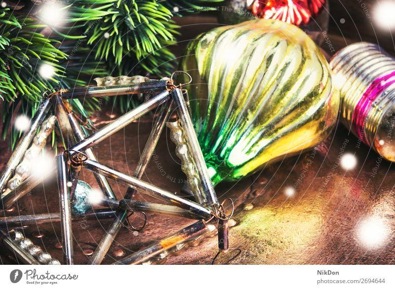 weihnachtliche Retro-Dekoration Feiertag Weihnachten Dekoration & Verzierung Winter Jahr Saison neu Ast Tanne Ornament Schnee festlich Kugel glänzend hell