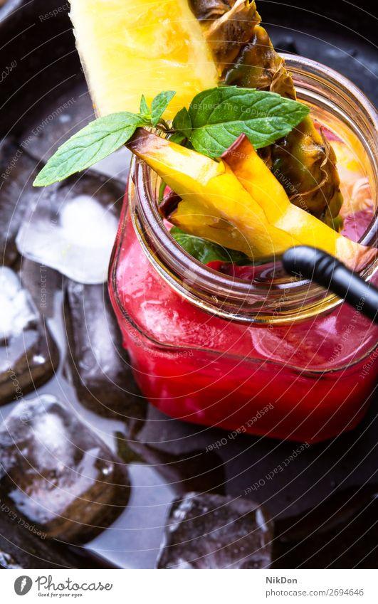 tropischer Fruchtsaft Saft Geschütz trinken Glas frisch süß orange Getränk Cocktail exotisch gelb Sommer Erfrischung kalt Diät Vitamin Zitrusfrüchte Mango