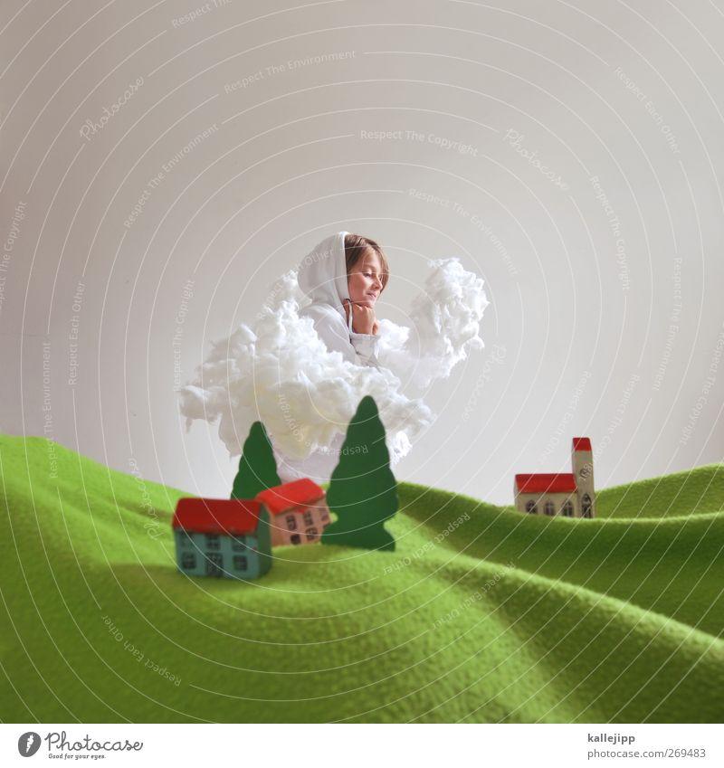 auf wolke 7 Mensch Himmel Natur Baum Pflanze Mädchen Tier Wolken Haus Umwelt Landschaft feminin Leben lachen klein Horizont