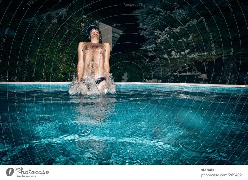 laktopedo Lifestyle Stil Körperpflege Leben Schwimmen & Baden Mensch maskulin androgyn Junger Mann Jugendliche Wasser Regen Mütze Behaarung Brustbehaarung