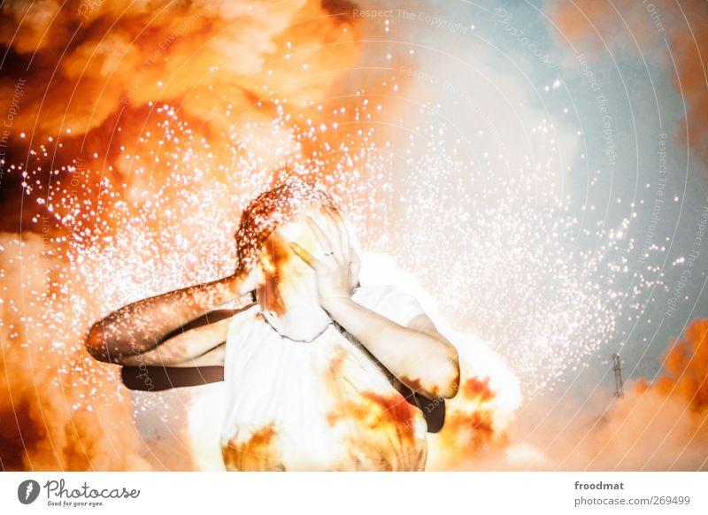 burnout Mensch Traurigkeit Angst Brand leuchten bedrohlich Schmerz Todesangst schreien Stress chaotisch Verzweiflung anstrengen Desaster Schwäche Erschöpfung
