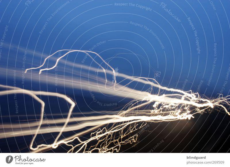 Faster Than The Speed Of Night blau weiß schwarz Straße Bewegung Verkehr Geschwindigkeit leuchten fahren sportlich Autofahren Eile