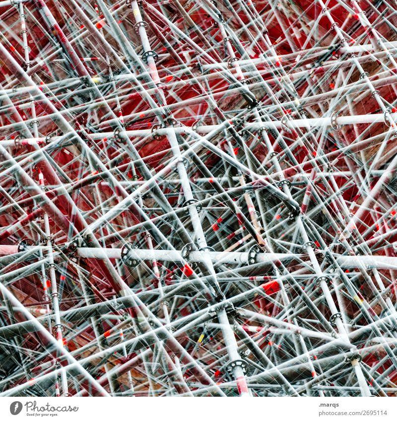 Baugerüst Stil Design Bauwerk Linie außergewöhnlich einzigartig viele verrückt Perspektive Irritation Doppelbelichtung Farbfoto Außenaufnahme Nahaufnahme